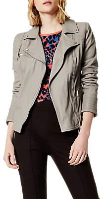 Karen Millen Washed Biker Jacket, Grey
