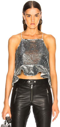 Ganni Sequins Top in Silver | FWRD
