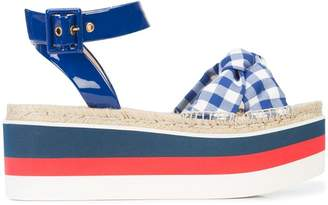 Gucci gingham flatform sandals