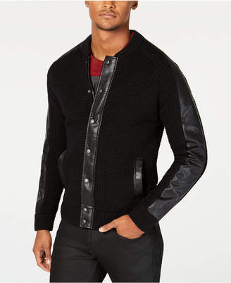 GUESS Men Faux Leather-Trimmed Cardigan Sweater