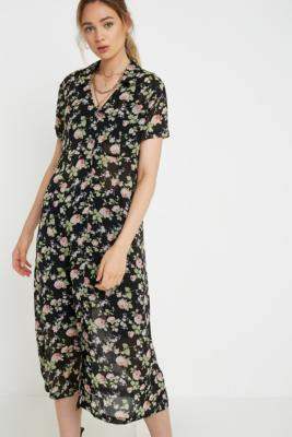 Urban Renewal Vintage Inspired By Vintage Louise Sheer Floral Midi Dress - black XS at Urban Outfitters