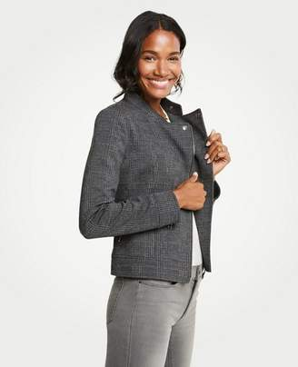 Ann Taylor Plaid Knit Moto Jacket
