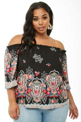 5383921db5c Forever 21 Plus Size Ornate Off-the-Shoulder Top
