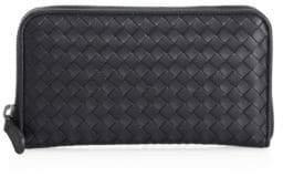 Bottega Veneta Woven Zip-Around Leather Wallet
