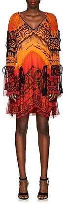 Alberta Ferretti Women's Abstract-Print Silk Chiffon Dress - Orange