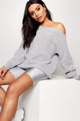 boohoo Slash Neck Fisherman Jumper