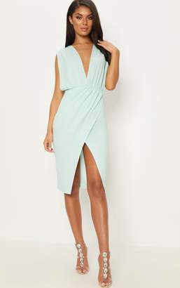 PrettyLittleThing Mint Ruched Shoulder Plunge Midi Dress