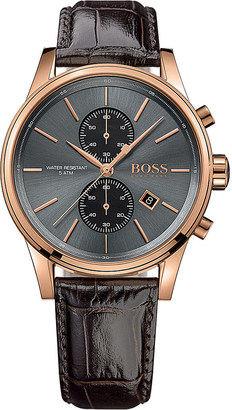 HUGO BOSS 1513281 jet stainless steel and leather watch $315 thestylecure.com