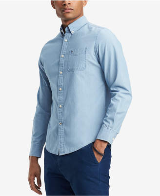 Tommy Hilfiger Men Custom-Fit Chambray Button-Down Shirt