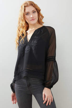 Gazelle By Beautiful Creature Sheer Embroidered Blouse Black XS