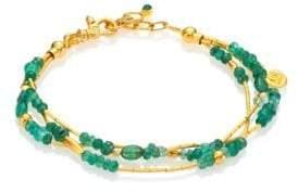 Gurhan Delicate Rain Emerald & 24K Yellow Gold Triple-Strand Bracelet