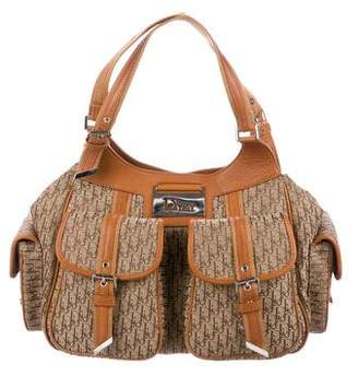 Christian Dior Leather-Trimmed Diorissimo Shoulder Bag