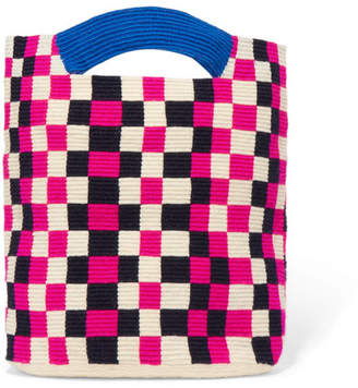 Mila Louise Sophie Anderson Checked Woven Tote - Pink