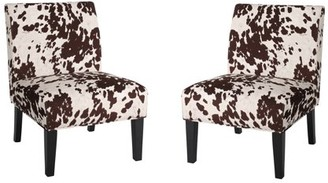 Noble House Cassie Faux Cow Fabric Accent Chair (Set of 2)