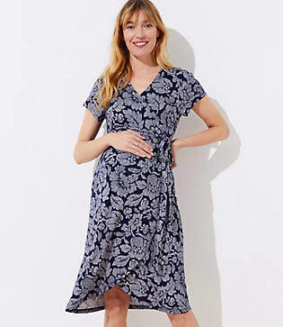LOFT Petite Maternity Floral Short Sleeve Wrap Dress