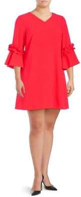 Eliza J Plus Bell-Sleeve Ruffled Dress
