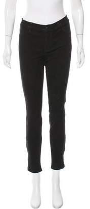J Brand Suede Mid-Rise Skinny Pants