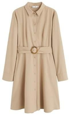 MANGO Tortoiseshell buckle dress