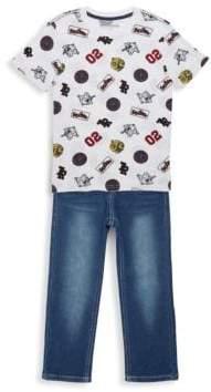 True Religion Little Boy's Two-Piece Patch Print T-Shirt & Jean Set