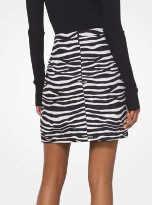 Michael Kors Zebra Wool Jacquard Skirt