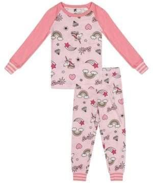 Petit Lem Little Girl's & Girl's Rule Two-Piece Cotton Pajama Top & Pants Set