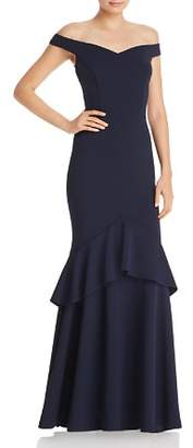 Aqua Off-the-Shoulder Tiered Crepe Gown - 100% Exclusive