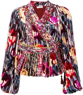 Ulla Johnson studded print wrap blouse