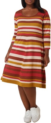 Maree Pour Toi Stripe Fit & Flare Sweater Dress