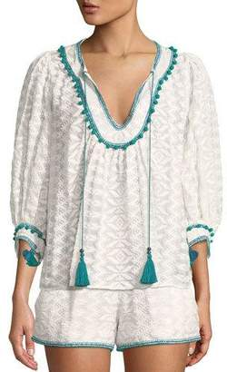 Zoey Talitha Collection Embroidered Tassel-Tie Top