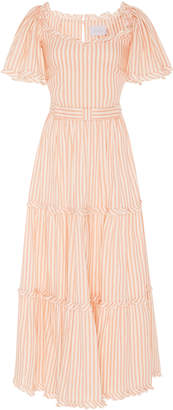 Luisa Beccaria Striped Short Sleeve Midi Dress