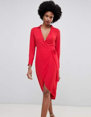 Oasis wrap front midi dress with tie detail in red