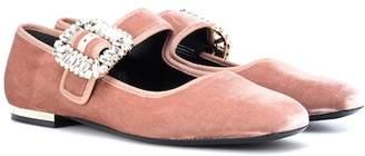 Roger Vivier Viv Mary Jane velvet ballet flats