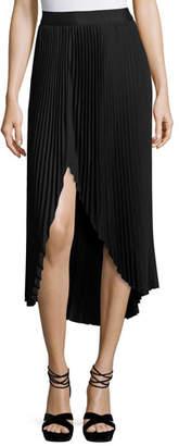 Ramy Brook Blair Plissé Slit Midi Skirt, Black $237 thestylecure.com