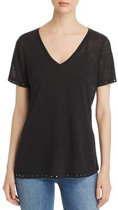 Sioni Studded-Trim V-Neck Tee