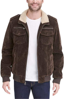 Levi's Men Faux Suede Collar Aviator Bomber Jacket with Sherpa Lining