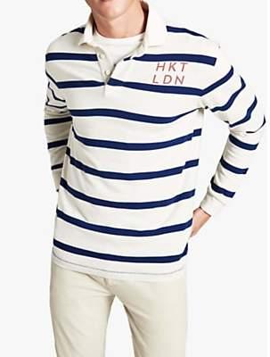80598c3df4828f HKT Long Sleeve Hoop Stripe Rugby Shirt, Chalk/Atlantic · John Lewis and ...