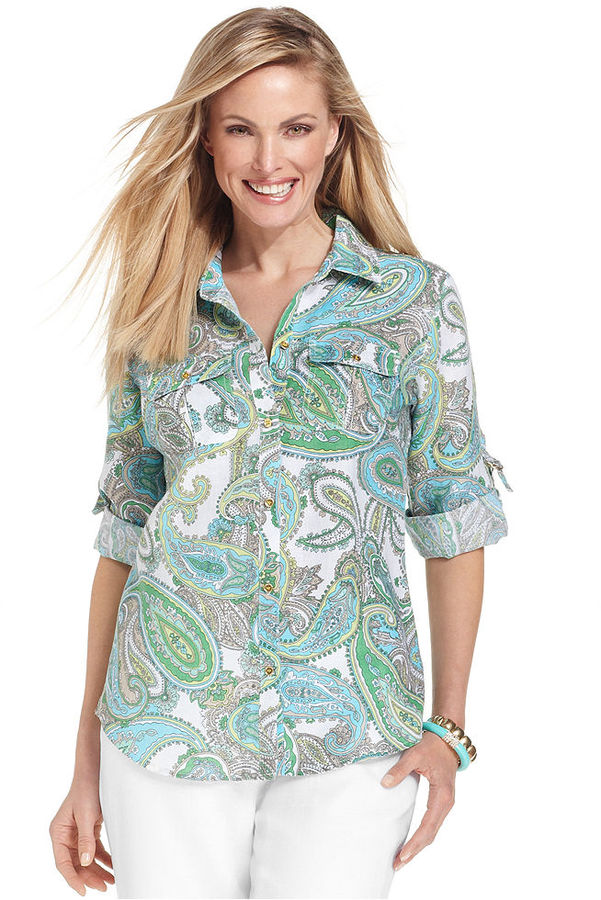 Charter Club Top, Three-Quarter-Sleeve Paisley-Print Linen Shirt