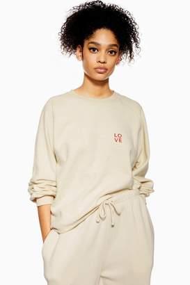Topshop Love Brushed Borg Sweatshirt