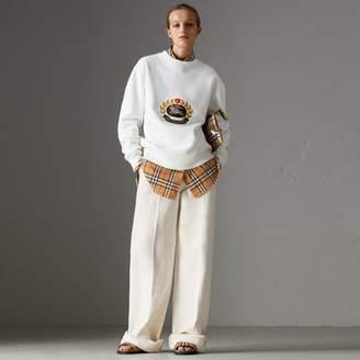Burberry Cotton Linen Canvas Wide-leg Trousers