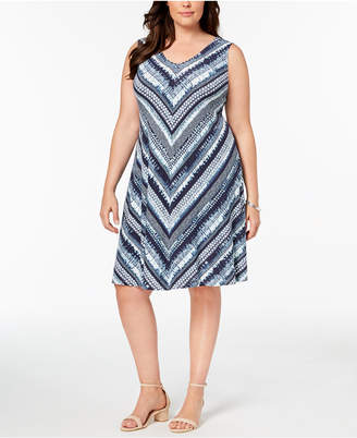Style&Co. Style & Co Plus Size Printed Cross-Back Swing Dress