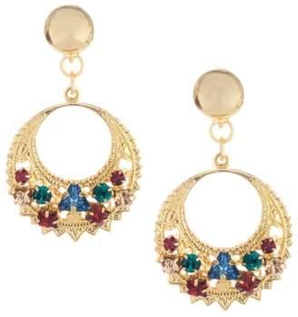 0579a0913 Oscar de la Renta Embossed Goldtone Swarovski Crystal Disc Drop Earrings