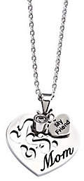"""Steel by Design Stainless Steel Mom Heart Pendant with 24"""" Chai"""