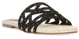 Fergie Suede Open-Toe Flat Sandals
