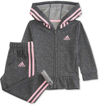 adidas Toddler Girls 2-Pc. Sparkle French Terry Jacket & Jogger Pants Set