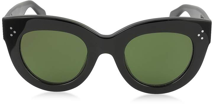 Celine CATY CL 41050/S 8071E Black Acetate Cat Eye Women's Sunglasses