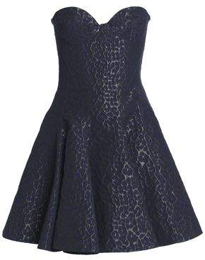 Emilio De La Morena Strapless Pleated Jacquard Mini Dress