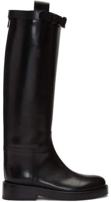 Ann Demeulemeester Black Buckle Riding Boots