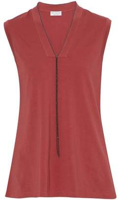 Brunello Cucinelli Bead-Embellished Stretch-Cotton Jersey Top