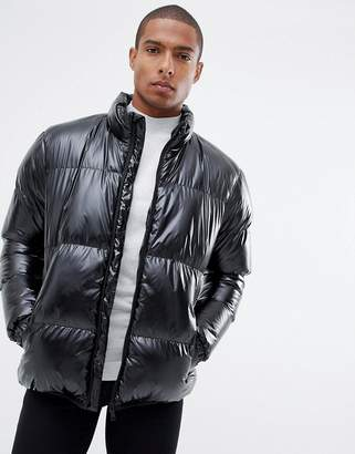 Brave Soul Padded High Shine Puffer Jacket