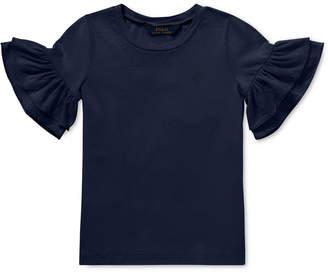 Polo Ralph Lauren Little Girls Ruffled-Sleeve Crew-Neck T-Shirt
